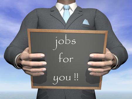 Businessman offering job - 3D render photo
