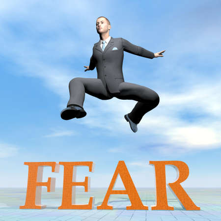 Businessman jumping upon fear word - 3D render photo