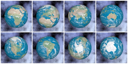 country side: Continents on the earth - 3D render