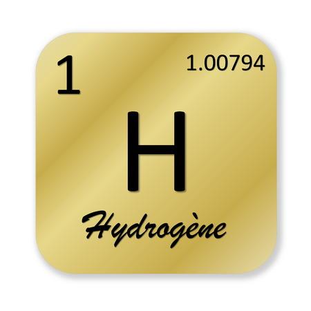 hydrogen: Hydrogen element, french hydrogene Stock Photo