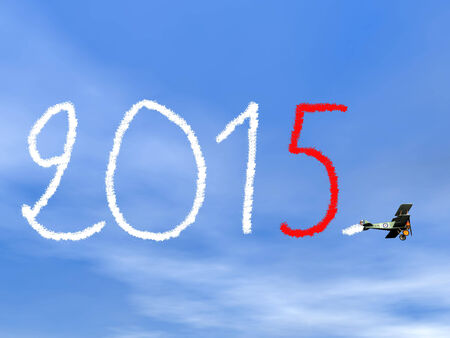 New year 2015 text from biplan smoke - 3D render photo