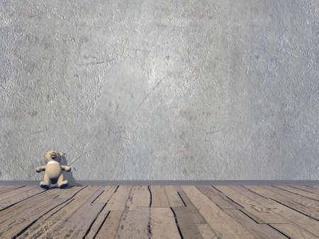 Small Teddy bear - 3D render photo