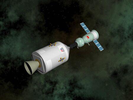 sattelite: Apollo-Soyuz test project - 3D render Stock Photo