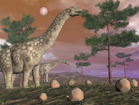 Argentinosaurus dinosaurs - 3D render photo