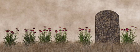 Vintage tombstone - 3D render Фото со стока