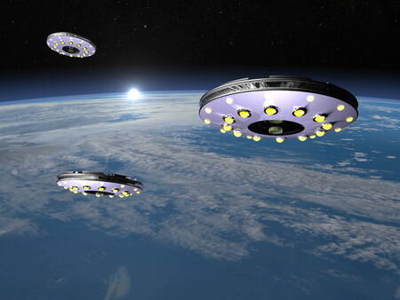 UFOs upon earth - 3D render photo