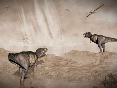 yucatan: End of dinosaurs due to meteorite impact in Yucatan, Mexico - 3D render Stock Photo
