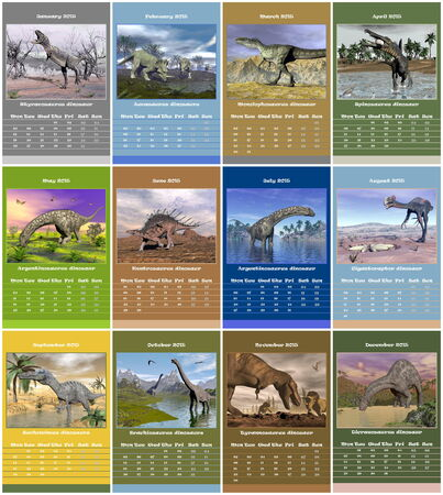 European 2015 year calendar with dinosaurs photo