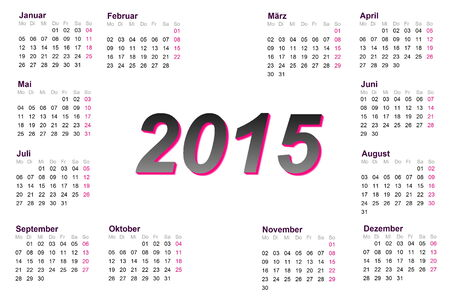 European german 2015 year calendar photo