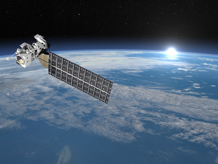 pm: Aqua satellite - 3D render Stock Photo