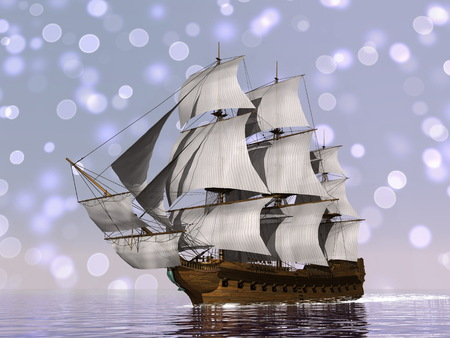 merchant: Old merchant ship - 3D render Stock Photo