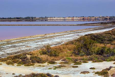 evaporation: Salt evaporation ponds, Salin-de-Giraud, Camargue, France Stock Photo