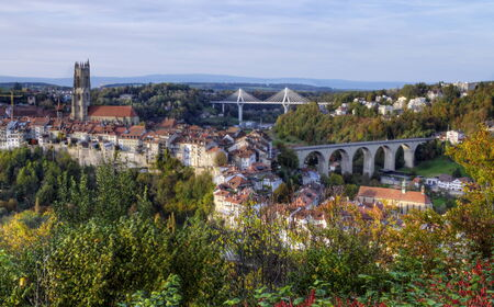 old bridge: View of cathedral, Poya and Zaehringen bridge, Fribourg, Switzerland, HDR
