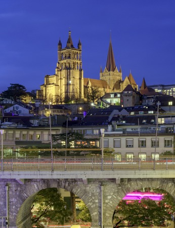 dame: Cathedral Notre Dame of Lausanne, Switzerland, HDR Stock Photo