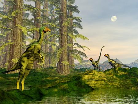 Caudipteryx and dilong dinosaurs - 3D render photo