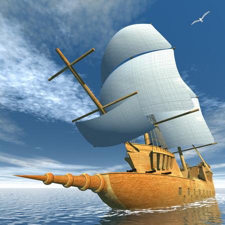 old ship: Old ship - 3D render