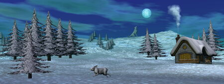 Christmas winter scenic - 3D render photo