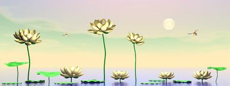 Zen lily flowers - 3D render photo