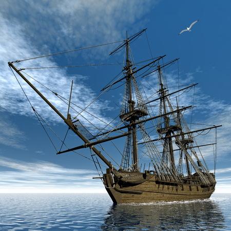 frigate: French frigate Medusa ship - 3D render