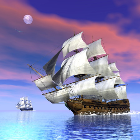 merchant: Old merchant ships - 3D render Stock Photo
