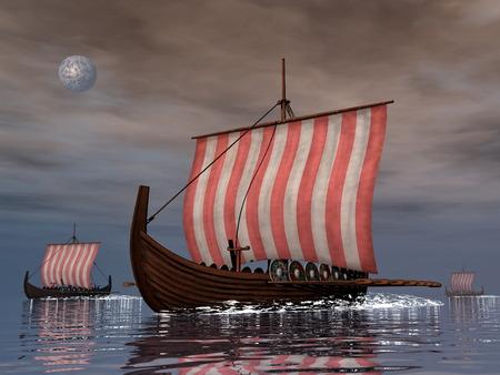 3d sail boat: Drakkars or viking ships - 3D render