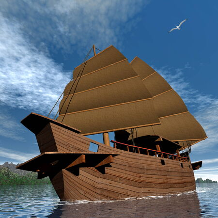junk boat: Oriental junk boat - 3D render Stock Photo