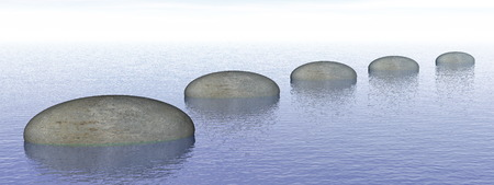 well being: Steps on the ocean - 3D render Stock Photo