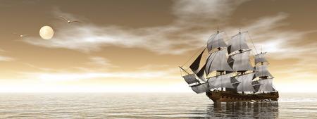 Old merchant ship - 3D render 스톡 콘텐츠
