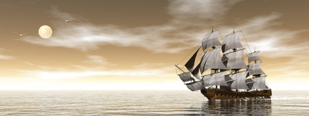 Old merchant ship - 3D render Foto de archivo
