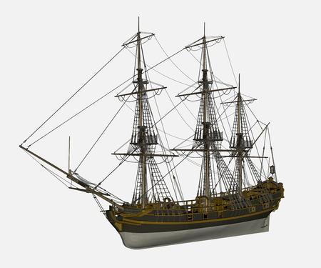 Licorne navire - 3D render Banque d'images - 35640565