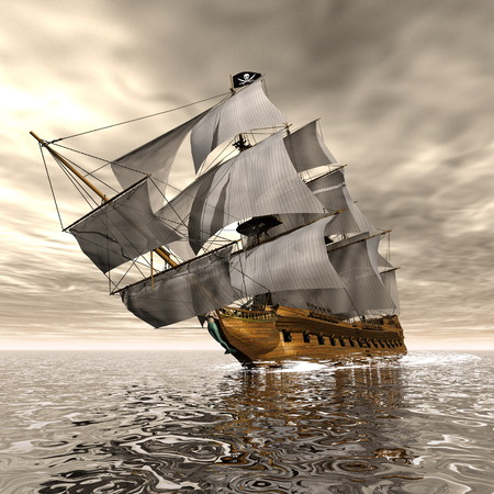 barco pirata: Barco pirata - 3D render Foto de archivo