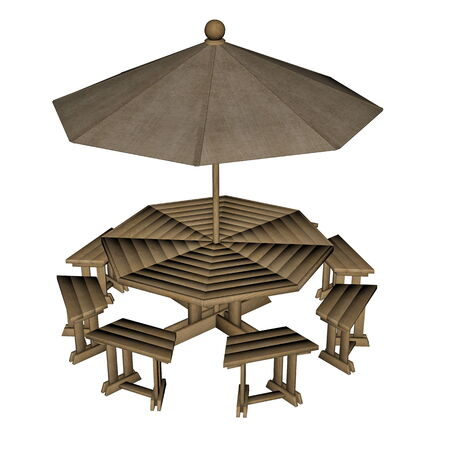 patio furniture: Umbrella table - 3D render