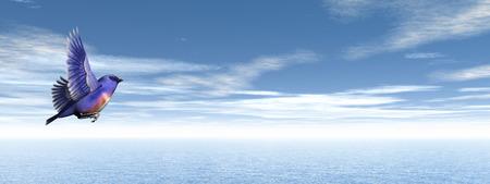 finch: Finch bird upon ocean - 3D render