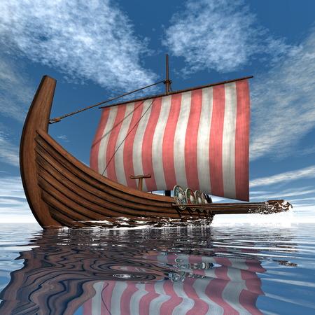 viking ship: Drakkar or viking ship - 3D render Stock Photo