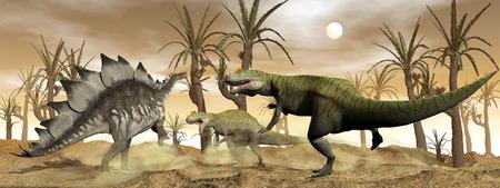 stegosaurus: Allosaurus y dinosaurios stegosaurus luchan - 3D render