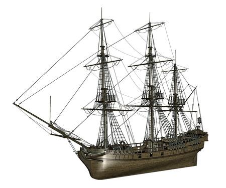 frigate: French frigate Medusa, 1810 - 3D render Stock Photo