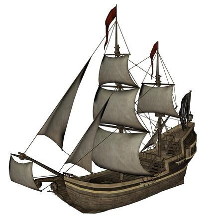 smirking: Smirking Mermaid, a Pirate Ship - 3D render Stock Photo