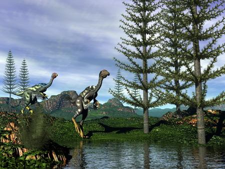 Caudipteryx dinosaurs - 3D render photo