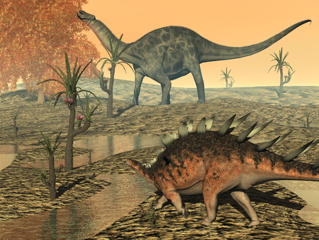 herbivorous animals: Dicaeosaurus and kentrosaurus dinosaurs - 3D render