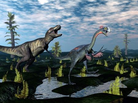 escaping: Tyrannosaurus rex attacking gigantoraptor dinosaur - 3D render Stock Photo