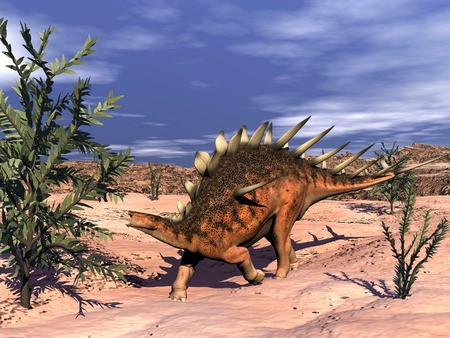 herbivorous animals: Kentrosaurus dinosaur - 3D render Stock Photo