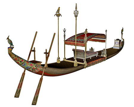 nile river: Egyptian sacred barge with throne - 3D render Stock Photo