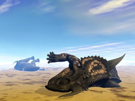 dead animal: Einiosaurus dinosaurs dead- 3D render