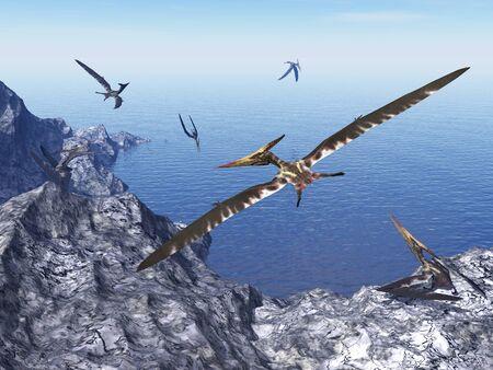 pteranodon: Pteranodon birds - 3D render