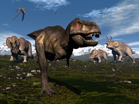 티라노사우루스가 트리케라톱스 공룡의 공격 렉스 - 3D 렌더링