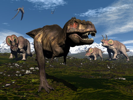 cretaceous: Tyrannosaurus rex attacked by triceratops dinosaurs - 3D render