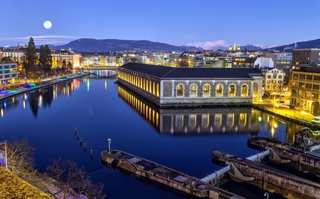 BFM, cathedral tower and Rhone river, Geneva, Switzerland, HDR