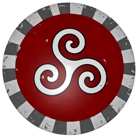 3d shield: Greek shield with triskell symbol - 3D render