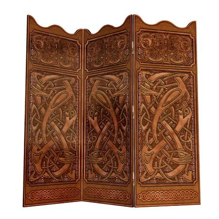 folding screens: Old wooden screen - 3D render