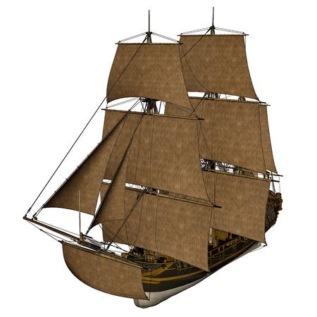 Licorne navire - 3D render Banque d'images - 37091567